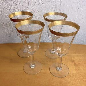 Tiffin 🥂 Antique Gold Rimmed Water Goblets Set